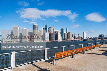 Waterfront view of  Manhattan skyline, New York City, USA