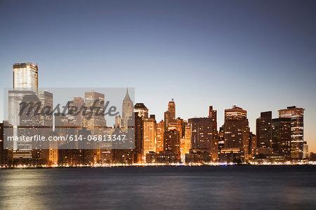 Manhattan skyline at dusk, New York City, USA