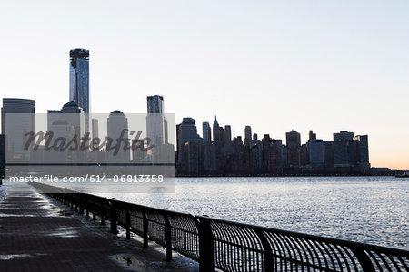 Manhattan waterfront and skyline at dusk, New York City, USA
