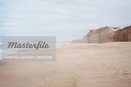 Peaceful beach scene with cliffs
