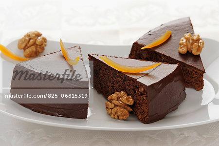 Moist chocolate and orange cake with walnuts