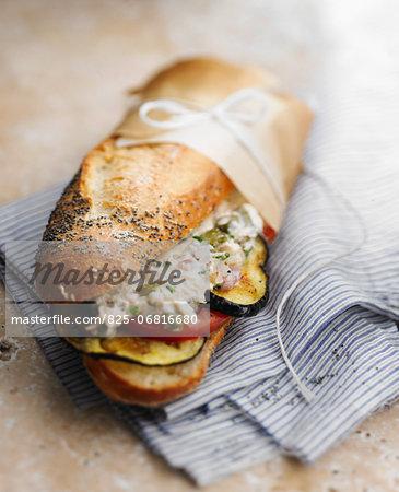 Tuna and eggplant sandwich