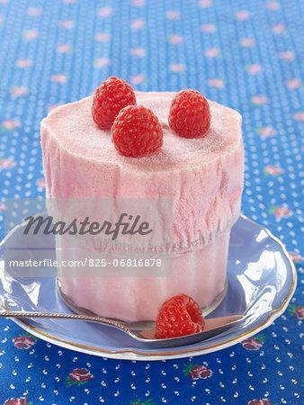 Raspberry ice cream soufflé