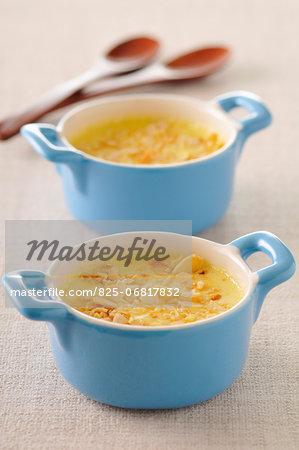 Almond,honey and orange blossom baked egg custard