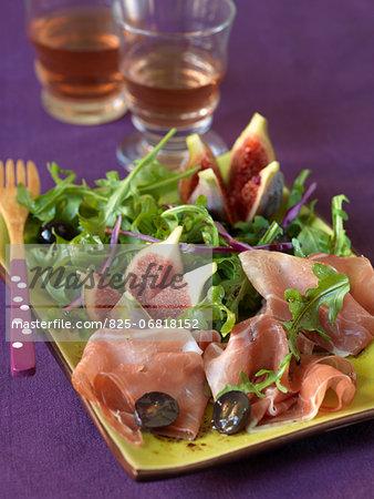 Rocket lettuce,fig,grape and Parma ham salad
