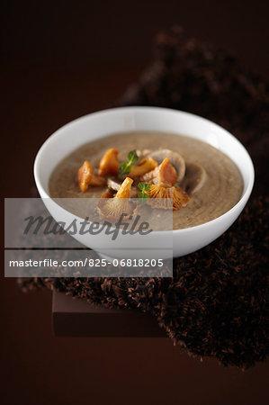 Chanterelle and buckwheat soup