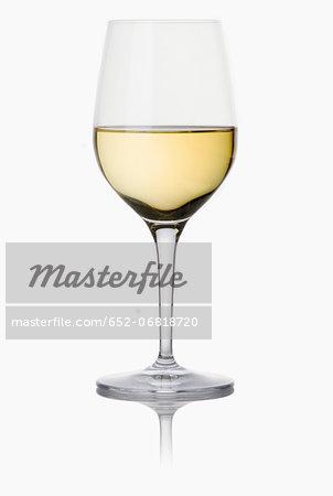 Stemmed glass of white wine