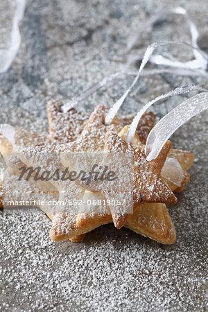 Star-shaped shortbread Christmas cookies