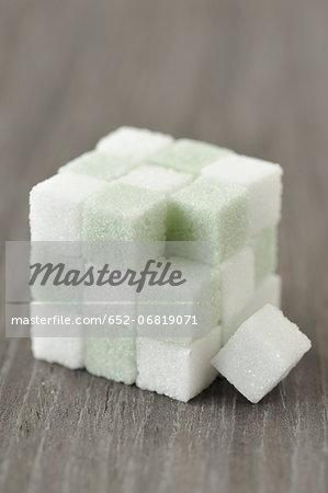 Cube of colored sugar lumps