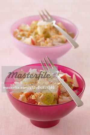 Long grain rice salad with apples,raisins and hazelnuts