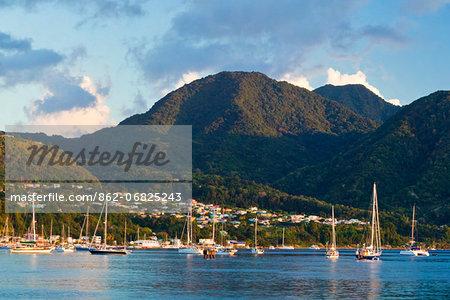 Dominica, Roseau. Boats near Castle Comfort.