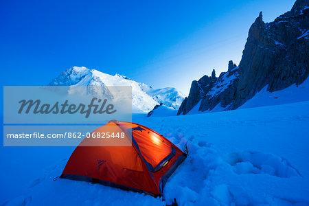 Europe, France, Haute Savoie, Rhone Alps, Chamonix Valley, camping beneath Mont Blanc (4810m)