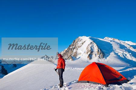 Europe, France, Haute Savoie, Rhone Alps, Chamonix Valley, camping beneath Mont Blanc (4810m) (MR)