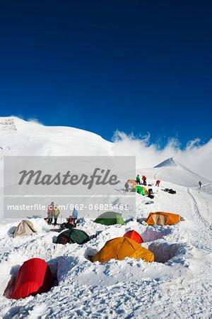Europe, France, Haute Savoie, Rhone Alps, Chamonix Valley, Gouter Ridge on Mont Blanc