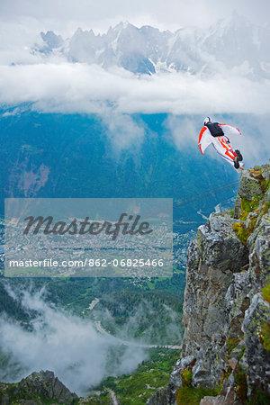 Europe, France, Haute Savoie, Rhone Alps, Chamonix Valley, base jumper at Brevant