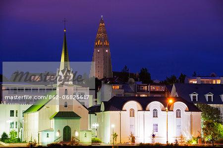 Iceland, Reykjavik, waterfront church on Lake Tjornin