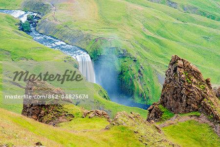 Iceland, southern region, Skogafoss waterfall