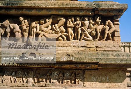 Asia, India, Madhya Pradesh, Khajuraho. Lakshmana temple, western temple group, frieze showing erotic sculptures.