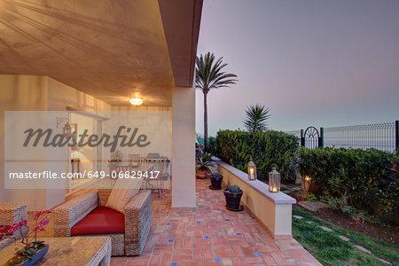 Outdoor terrace of luxury villa