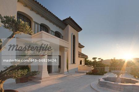Sunlight on exterior of luxury villa