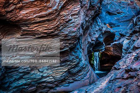 Waterfall and Blue Rock, Hamersley Gorge, The Pilbara, Western Australia, Australia