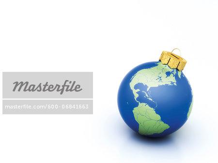 World Christmas ball on white background
