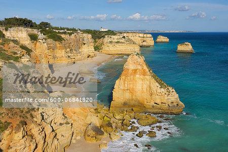 Rock Formations at Praia da Marinha and Atlantic Ocean, Lagoa, Algarve, Portugal