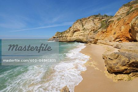 Cliffs at Praia do Paraiso, Carvoeiro, Lagoa, Algarve, Portugal