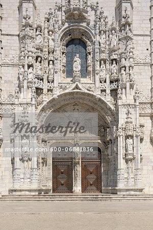 Door at Jeronimos Monastery, UNESCO World Heritage Site, Belem, Lisbon, Portugal
