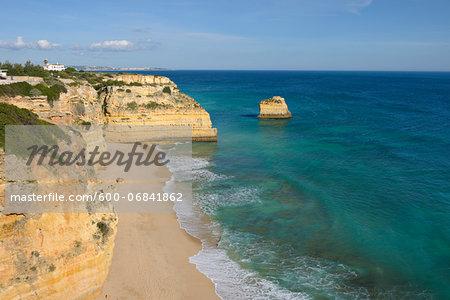 Rocky Coastline with Atlantic Ocean at Praia da Marinha, Lagoa, Algarve, Portugal