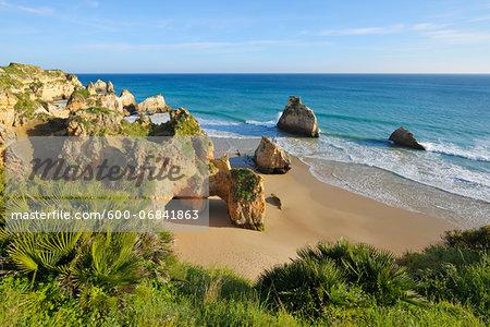 Rock Formations at Praia dos Tres Irmaos and Atlantic Ocean, Alvor Portimao, Algarve, Portugal