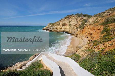 Steps Leading Down to Praia do Paraiso, Carvoeiro, Lagoa, Algarve, Portugal