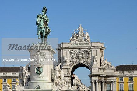 Statue of King Jose I and Arco da Rua Augusta in Praca do Comercio, Baixa, Lisbon, Portugal