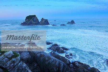 Coastline at Dawn, Cape Foulwind, Westport, South Island, West Coast-Tasman, New Zealand