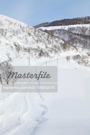 Road covered in snow, Niigata Prefecture