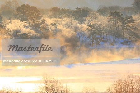 Fog and snow at Lake Onogawa, Fukushima prefecture