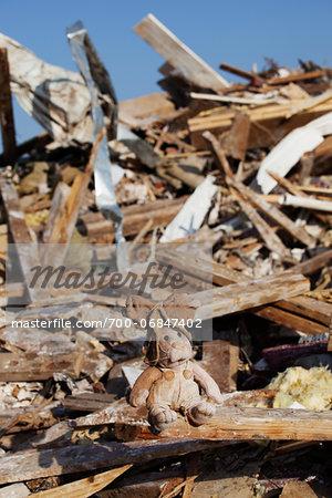 Stuffed Toy Amongst Tornado Damage Debris, Moore, Oklahoma, USA.