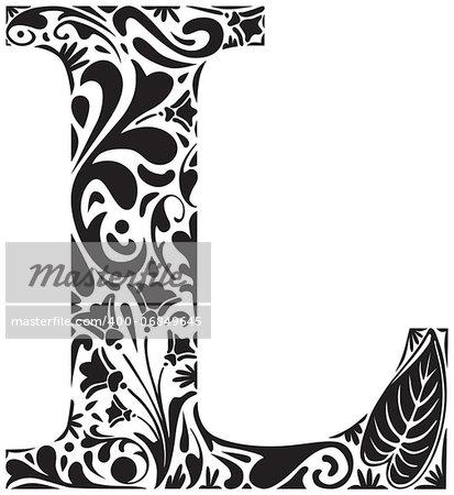 Floral initial capital letter L