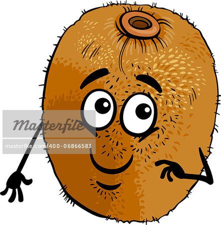 Cartoon Illustration of Funny Kiwi Fruit Food Comic Character
