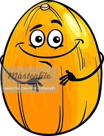 Cartoon Illustration of Funny Melon Fruit Food Comic Character
