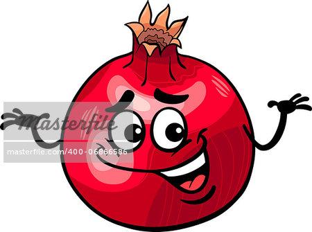 Cartoon Illustration of Funny Pomegranate Fruit Food Comic Character