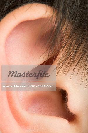 Human ear close up studio shot
