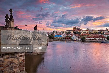 Image of Prague, capital city of Czech Republic, during beautiful sunset.