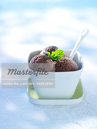 Chocolate Sorbet with Mint Garnish, Studio Shot