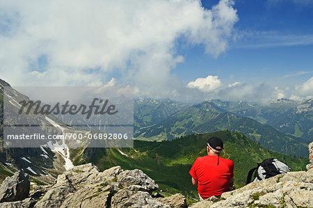 Mountaineer Enjoying View on Kanzelwand, Kleinwalsertal, Austria