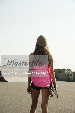 Portrait of Teenage Girl in Skatepark, Feudenheim, Mannheim, Baden-Wurttemberg, Germany