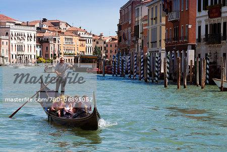 Gondola in Grand Canal, Venice, UNESCO World Heritage Site, Veneto, Italy, Europe