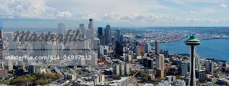 Panoramic aerial view of Seattle, Washington State, USA
