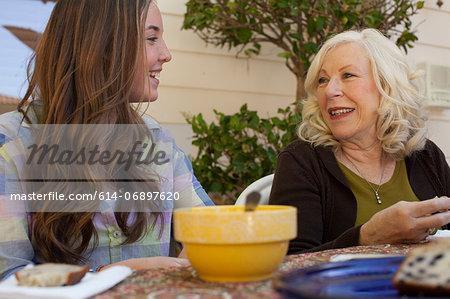 Grandmother and granddaughter having breakfast outdoors