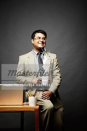 Man enjoying hot drink